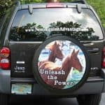 Custom tire cover with a photo