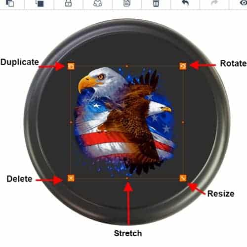 Object controls to design your own spare tire cover.