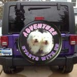 Dog photo on custom tire cover
