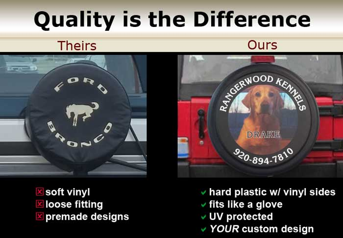 We only offer high-quality hard tire covers