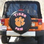 Paw print on a custom spare tire cover for Jeep